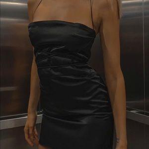 Danielle Guizio Black Bondage Mini Dress